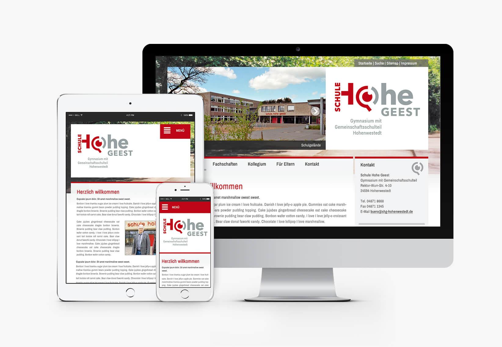 Schule Hohe Geest Responsive Website