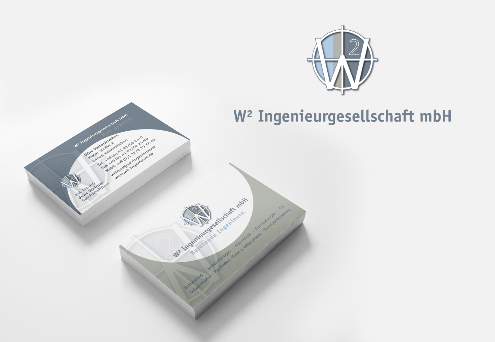 W2 Ingenieurgesellschaft Logo und Visitenkarten
